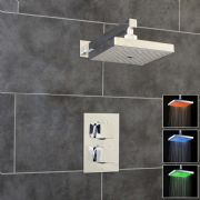 Thermostatic 1 Way Shower Valve | 2 Square Handles with Square LED Overhead Shower Drencher | EcoSpa®